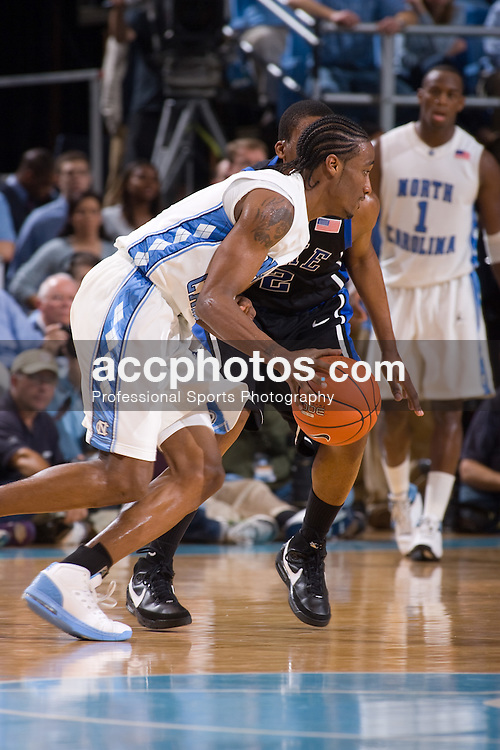 06 February 2008: North Carolina Tar Heels guard Quentin Thomas (11) during a 89-78 loss to the Duke Blue Devils at the Dean Smith Center in Chapel Hill, NC.