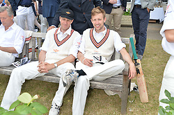 Left to right, BEN ELLIOT and GEORGE FROST at the Flannels For Heroes cricket competition in association with Dockers held at Burton Court, Chelsea, London on 19th June 2015