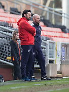 14th April 2018, Tannadice Park, Dundee, Scotland; Scottish Championship football, Dundee United versus Falkirk; Falkirk manager Paul Hartley and assistant manager Gordon Young