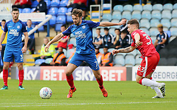 Gwion Edwards of Peterborough United takes on Mark Byrne of Gillingham - Mandatory by-line: Joe Dent/JMP - 14/10/2017 - FOOTBALL - ABAX Stadium - Peterborough, England - Peterborough United v Gillingham - Sky Bet League One