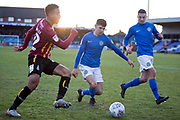 Bradford City defender Adam Henley challenged by the opponent during the EFL Sky Bet League 2 match between Macclesfield Town and Bradford City at Moss Rose, Macclesfield, United Kingdom on 30 November 2019.