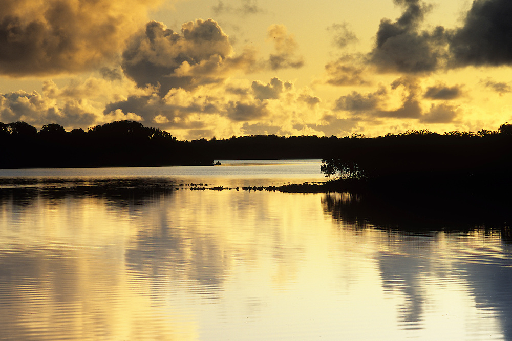 Sunrise over lagoon in Colonia, Yap, Wa`ab, Waqab, Federated States of Micronesia, islands in the Caroline Islands