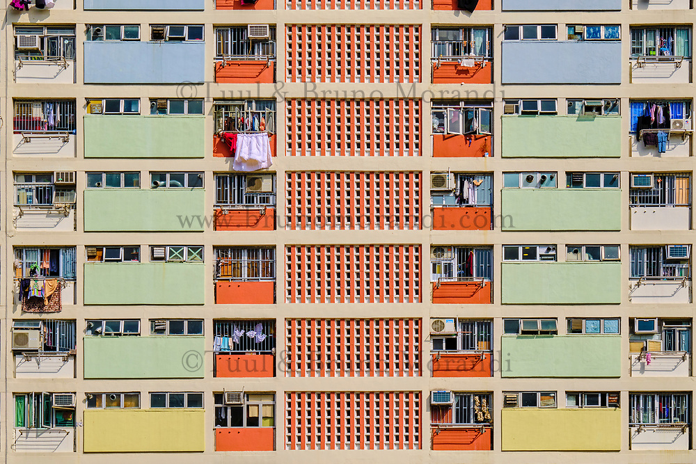 Chine, Hong Kong, Kowloon, quartier d'habitation très dense // China, Hong Kong, Kowloon island, Densely crowded apartment buildings