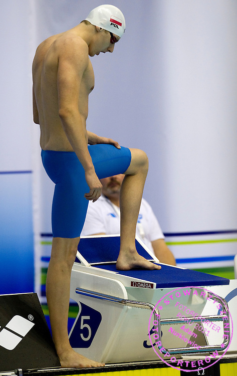 Konrad Czerniak from Poland before Men's 50m Freestyle Final during European Short Course Swimming Championships Szczecin 2011 at Floating Arena in Szczecin...Poland, Szczecin, December 8, 2011..Picture also available in RAW (NEF) or TIFF format on special request...For editorial use only. Any commercial or promotional use requires permission...Photo by © Adam Nurkiewicz / Mediasport