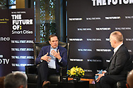 The WSJ Future Of:Smart Cities with Chuck Robbins, CEO of Cisco, in New York City on October 12, 2017. (photo by Gabe Palacio)