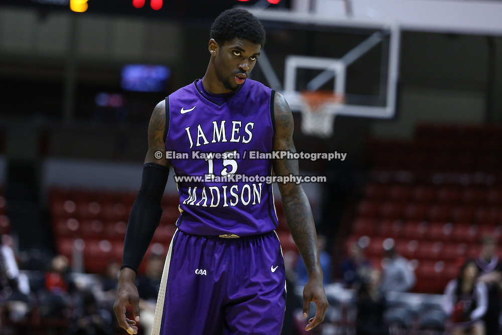 Andre Nation #15 of the James Madison University Dukes on the court during the game at Matthews Arena on January 29, 2014 in Boston, Massachusetts . (Photo by Elan Kawesch)