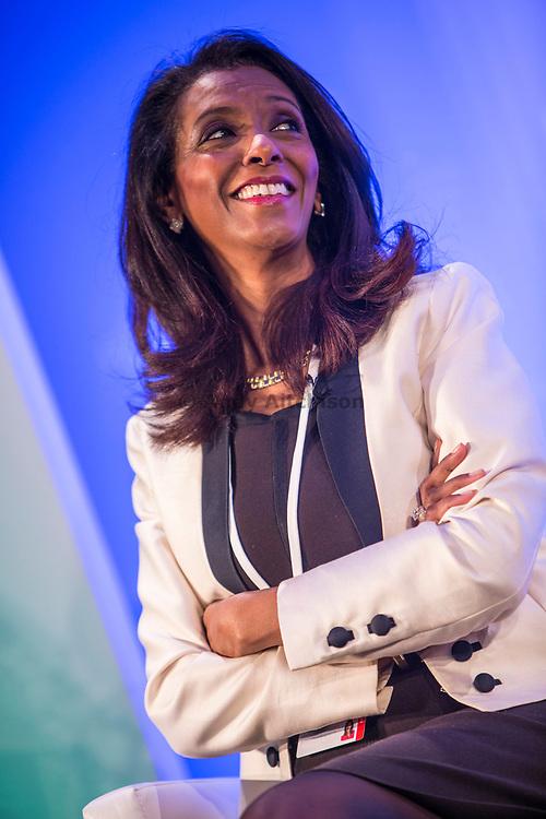 Zeinab Badawi, International Broadcaster moderates the 2014 Stars Foundation Philanthropreneurship Forum, Regents Park, London.