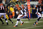 Cincinnati Bengals running back Jeremy Hill (32) runs the ball in the first quarter during the NFL AFC Wild Card playoff football game against the Pittsburgh Steelers on Saturday, Jan. 9, 2016 in Cincinnati. The Steelers won the game 18-16. (©Paul Anthony Spinelli)