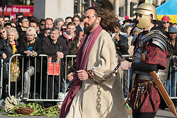 Trafalgar Square, London, March 25th 2016. Thousands of Londoners an tourists in Trafalgar Square are treated to The Passion of Jesus, a re-enactment of the events leading up to the crucifixion and resurrection of Jesus Christ. PICTURED: . <br /> ©Paul Davey<br /> FOR LICENCING CONTACT: Paul Davey +44 (0) 7966 016 296 paul@pauldaveycreative.co.uk