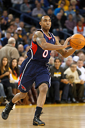 February 25, 2011; Oakland, CA, USA;  Atlanta Hawks guard Jeff Teague (0) passes the ball against the Golden State Warriors during the first quarter at Oracle Arena. Atlanta defeated Golden State 95-79.