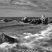 Haystacks In Crashing Surf Wide - Sunset - Fort Bragg, CA - Black & White