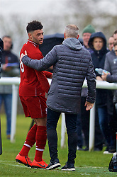 DERBY, ENGLAND - Friday, March 8, 2019: Liverpool's Alex Oxlade-Chamberlain is substituted by manager Neil Critchley during the FA Premier League 2 Division 1 match between Derby County FC Under-23's and Liverpool FC Under-23's at the Derby County FC Training Centre. (Pic by David Rawcliffe/Propaganda)