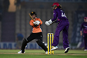 Tash Farrant of Southern Vipers hits the ball to the boundary during the Women's Cricket Super League match between Southern Vipers and Loughborough Lightning at the Ageas Bowl, Southampton, United Kingdom on 28 August 2019.