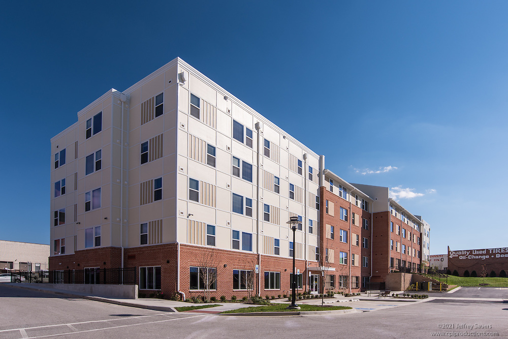 Penn Square Apartments Exterior Image in Baltimore Maryland by Jeffrey Sauers of Commercial Photographics, Architectural Photo Artistry in Washington DC, Virginia to Florida and PA to New England