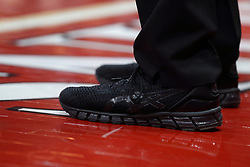 17 February 2018:  black referee shoes during a College mens basketball game between the University of Northern Iowa Panthers and Illinois State Redbirds in Redbird Arena, Normal IL