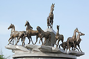 The Ahal Teke Horses Monument in the Ten Years of Independence Park in central Ashgabat, Turkmenistan