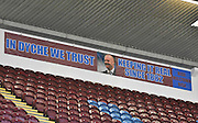 Ther Burnley fans demonstrate their faith  during the Sky Bet Championship match between Burnley and Charlton Athletic at Turf Moor, Burnley, England on 19 December 2015. Photo by Mark Pollitt.