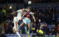 Football - 2017 / 2018 EFL (League) Cup - Third Round: Burnley vs. Leeds United<br /> <br /> Kevin Long of Burnley and Cameron Borthwick-Jackson of Leeds United  at Turf Moor.<br /> <br /> COLORSPORT/LYNNE CAMERON