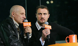 WARSAW, POLAND - WEDNESDAY, SEPTEMBER 7th, 2005: Poland and Liverpool goalkeeper Jerzy Dudek works as a TV pundit during the World Cup Group Six Qualifying match against Wales at the Legia Stadium. (Pic by David Rawcliffe/Propaganda)