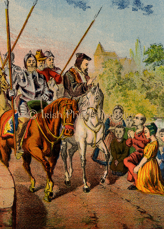 Dr Rowland Taylor (d1555) English Protestant martyr. Taylor, vicar of Hadley, Essex, arriving in the town under armed guard to await execution by burning at the stake, a victim of the persecution of Protestants under the Roman Catholic queen Mary I. Chromolithograph from a mid-19th century edition of  'Foxe's Book of Martyrs'.