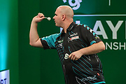 Rob Cross during the PDC Darts Players Championship at  at Butlins Minehead, Minehead, United Kingdom on 24 November 2017. Photo by Shane Healey.