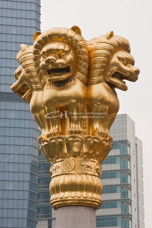 four lions guarding jing'an temple in Shanghai China