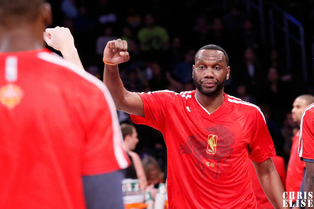 31 January 2014: Charlotte Bobcats center Al Jefferson (25) is seen during the players introduction prior to the Charlotte Bobcats 110-100 victory over the Los Angeles Lakers at the Staples Center, Los Angeles, California, USA.