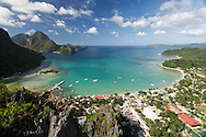A view point, high on a cliff above El Nido Town, the Philippines on Palawan island.