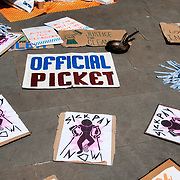 London. London School of Economics. Lunchtime rally to support the strike by cleaners for better conditions....members of the UVW called a two day strike on June 1st and 2nd as part of their campaign for better rights and conditions for cleaners. The majority of the cleaners, who are employed by outsourced cleaning company Noonan, are from BME and Latin American origin and have been faced with far worse employment conditions than the mostly white staff employed directly by the LSE.