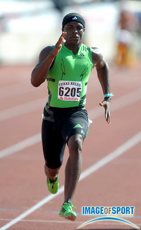 Mar 31, 2012; Austin, TX, USA; Marvin Bracy of Boone wins the Division II boys 100m in a wind-aided 10.06 in the 85th Clyde Littlefield Texas Relays at Mike A. Myers Stadium.