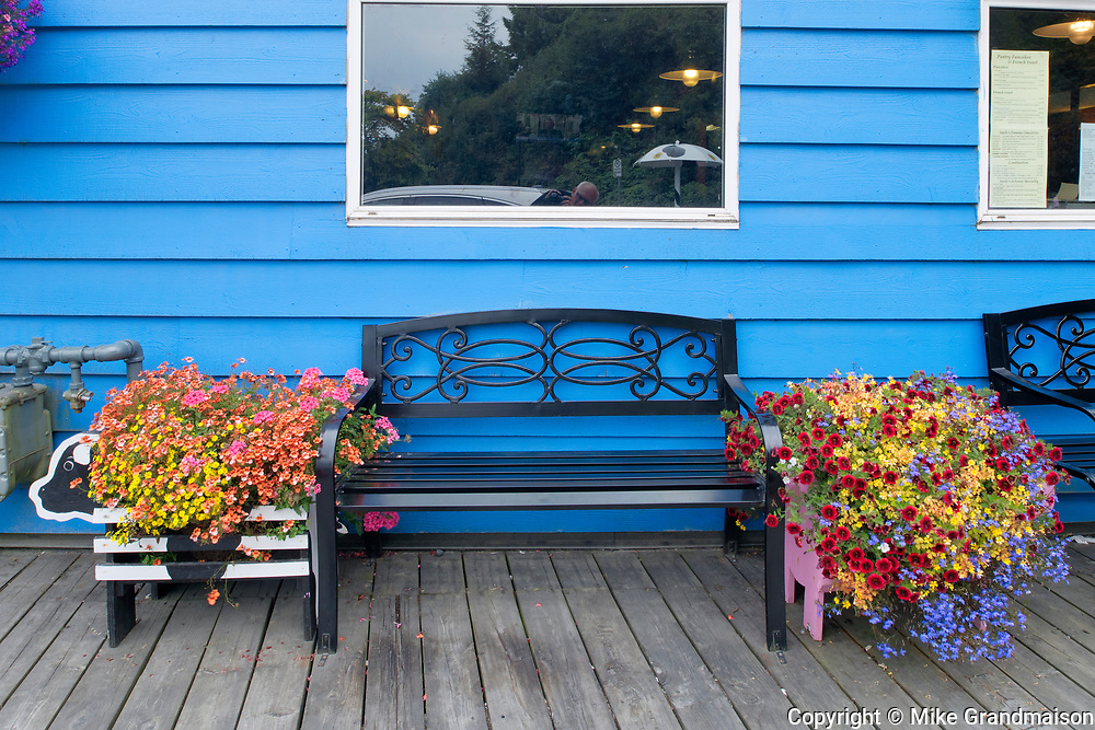 Flower pots and bench<br />Prince Rupert<br />British Columbia<br />Canada