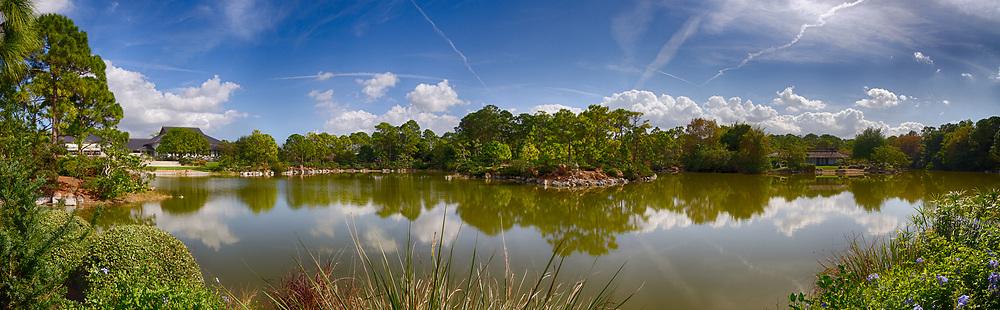USA, Florida, Delray Beach. Panoramic view of the Morikami Japense Gardens.