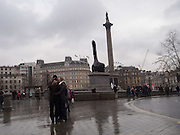 Trafalgar Sq. Nelson's column and fourth plinth. Thumb's up by David Shrigley, London. 7 January 2017