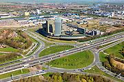 Nederland, Overijssel, Zwolle, 01-05-2013; A28 met bedrijventerrein Voorst. Kantorenpark met kantoren van GDF Suez, ABN AMRO en Essent. Kruising A28 met WestenholterAllee en IJsselallee.<br /> Business park near motorway A28.<br /> luchtfoto (toeslag op standaardtarieven);<br /> aerial photo (additional fee required);<br /> copyright foto/photo Siebe Swart.