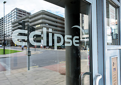 © Licensed to London News Pictures. FILE PICTURE dated 21/08/2017; Bristol, UK. The Eclipse Tower, above Harvey Nicholls, in the Cabot Circus shopping centre in Bristol city centre. It is reported today (11/12/2017) that the residential Eclipse Tower's cladding, which is of a similar nature to that which caught fire on Grenfell Tower in London, is to be replaced. In August 2017, Avon Fire and Rescue Service confirmed the privately-owned Eclipse Tower in Cabot Circus used aluminium composite material of a similar nature to that used on Grenfell Tower. Eclipse say that they have put in extra safety measures and kept residents fully informed. Extra patrols have been introduced and residents told not to have barbecues on balconies. Photo credit: Simon Chapman/LNP