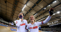 Katie Archibald (left) and Laura Kenny of Great Britain celebrate after winning the Women's Madison Final during day three of the Tissot UCI Track Cycling World Cup at Lee Valley VeloPark, London.