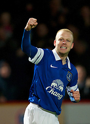 STEVENAGE, ENGLAND - Saturday, January 25, 2014: Everton's Steven Naismith celebrates scoring the first goal against Stevenage during the FA Cup 4th Round match at Broadhall Way. (Pic by Tom Hevezi/Propaganda)
