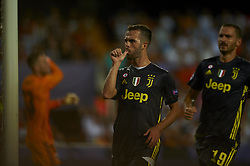September 19, 2018 - Valencia, Spain - Miralem Pjanic celebrates after scoring his sides first goal Group H match of the UEFA Champions League between Valencia CF and Juventus at Mestalla Stadium on September 19, 2018 in Valencia, Spain. (Credit Image: © Jose Breton/NurPhoto/ZUMA Press)