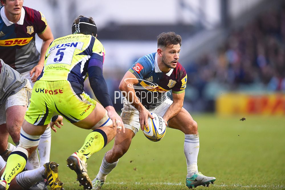 Harlequins player Danny Care off loads the ball in the first half during the Aviva Premiership match between Harlequins and Sale Sharks at Twickenham Stoop, Twickenham, United Kingdom on 7 January 2017. Photo by Ian  Muir.during the Aviva Premiership match between Harlequins and Sale Sharks at Twickenham Stoop, Twickenham, United Kingdom on 7 January 2017. Photo by Ian  Muir.