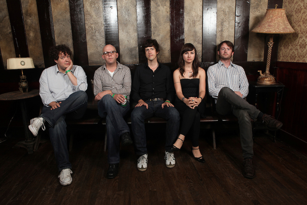 (L to R) Jody Suarez, Sean Haskins, Andrew Kenny, Leslie Sisson, and Sean Haskins of The Wooden Birds pose for a  portrait before their peformance onstage at The Bell House in Brooklyn, NY.