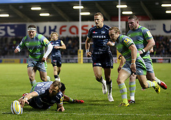 Byron McGuigan of Sale Sharks scores a try which is later overruled - Mandatory by-line: Matt McNulty/JMP - 08/09/2017 - RUGBY - AJ Bell Stadium - Sale, England - Sale Sharks v Newcastle Falcons - Aviva Premiership