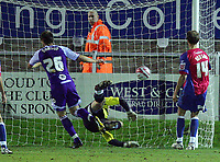 Dagenham & Redbridge vs Rochdale Coca-Cola League 2 21/11/09<br /> Pic Nicky Hayes/News of the World<br /> Craig Dawson scores Rochdale's winning goal.