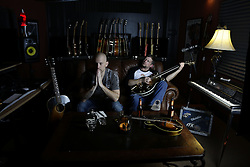 """16 Bones Band photo shoot with Bryan Fox and David """"Sailor"""" Bryant, Monday, Feb. 10, 2014 at the Recording Fox Studio in Louisville."""