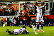 Pelly Ruddock of Luton Town celebrates scoring his team's first goal to make it 1-1 during the Sky Bet League 2 match at Kenilworth Road, Luton<br /> Picture by David Horn/Focus Images Ltd +44 7545 970036<br /> 19/08/2014