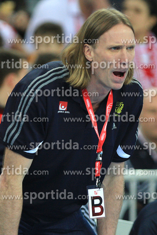 Head coach of Sweden Staffan Olsson during 21st Men's World Handball Championship 2009 Main round Group I match between National teams of France and Sweden, on January 24, 2009, in Arena Zagreb, Zagreb, Croatia.  (Photo by Vid Ponikvar / Sportida)