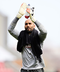 Derby County goalkeeper, Lee Grant applauds the away support - Photo mandatory by-line: Matt McNulty/JMP - Mobile: 07966 386802 - 06/04/2015 - SPORT - Football - Wigan - DW Stadium - Wigan Athletic v Derby County - SkyBet Championship
