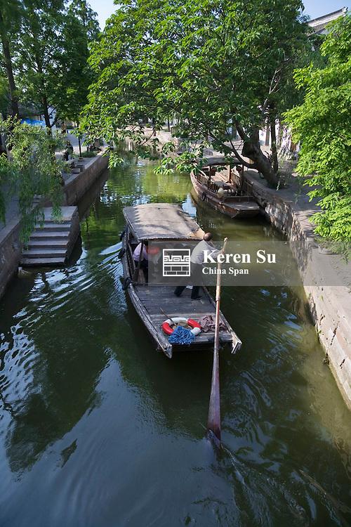 Boat on the Grand Canal in the water town, Zhujiajiao, near Shanghai, China