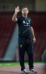 UPTON PARK, ENGLAND - Friday, September 12, 2014: Liverpool's manager Michael Beale during the Under 21 FA Premier League match against West Ham United at Upton Park. (Pic by David Rawcliffe/Propaganda)