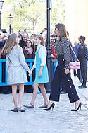 Princess Sofia, Crown Princess Leonor, Queen Letizia of Spain attend Easter Mass at the Cathedral of Palma de Mallorca on April 1, 2018 in Palma de Mallorca, Spain