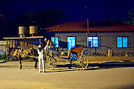 Horse and carriage at night in Mayari, Holguin, Cuba.